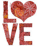 Word LOVE for coloring. Vector decorative zentangle object