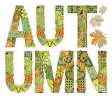 Word autumn with falling leaves. Vector decorative zentangle object