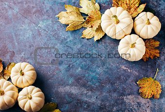 Autumn background with small pumpkins