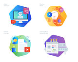 Material design icons set for for education, video tutorials, online courses, training and development, sharing ideas