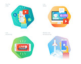Material design icons set for live streaming, mobile broadcasting, pay per view, online video, news