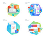 Material design icons set for social media video, cloud recording, VOD streaming, video security, online video streaming