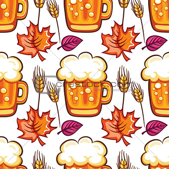 Oktoberfest Beer seamless pattern. Cartoon beer mugs , wheat and fall leaves. Vector