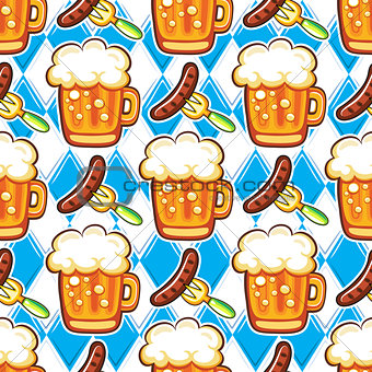 Oktoberfest Beer seamless pattern. Repeating cartoon colorful mugs of beer, and sausages. Vector