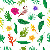 Floral and leaves of summer, Natural Seamless Pattern.