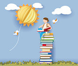 Back to school card with boy, books and sun