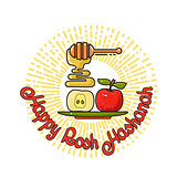 Happy Rosh Hashanah handwritten lettering. Jewish holiday design