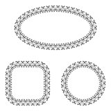 abstract vector black and white ornate frames set