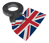 venus symbol and flag of the uk -3d rendering