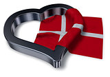 flag of denmark and heart symbol - 3d rendering