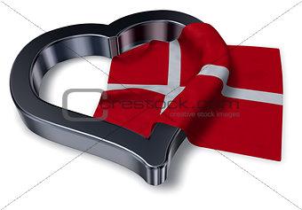 flag of denmark and heart symbol - 3d rendering