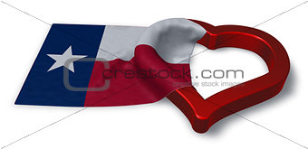flag of texas and heart symbol - 3d rendering