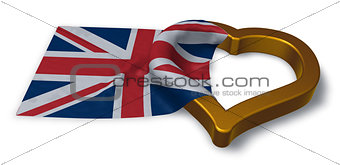 flag of the uk and heart symbol - 3d rendering