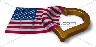 flag of the usa and heart symbol - 3d rendering