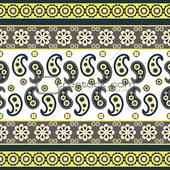 Paisley flower pattern seamless row vector.