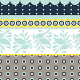Folk floral gray and blue seamless vector pattern.
