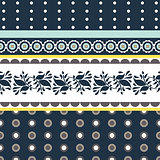 Folk floral blue and yellow seamless vector pattern.