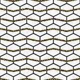 Honey comb cells vector gold glitter seamless pattern.