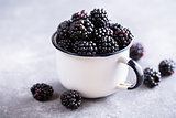 Juicy fresh blackberries in a cup.