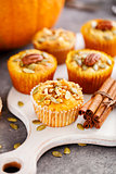 Homemade muffins of pumpkin with pecans.