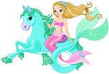 Beautiful Mermaid Riding Sea Horse