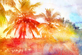 Retro photo background with palm trees
