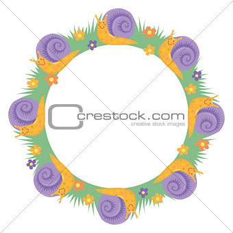 Cartton snail round border frame
