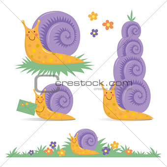 Set of various cute cartoon snails