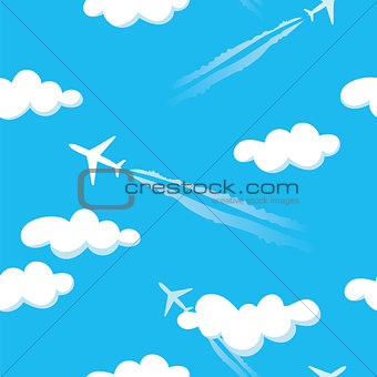 Simple blue cloudy sky airplanes seamless pattern