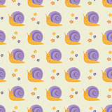 Cute happy cartoon snails seamless pattern