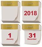 Set tear off calendar 2018