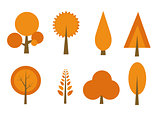 autumn trees set vector illustration
