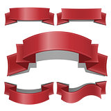 Red glossy ribbon vector banners set. Web Ribbons banner With Gradient Mesh. Ribbon banner vector illustration collection.