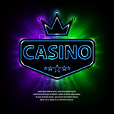 Bright vegas casino banner with neon frame and abstract gambling background. Casino frame neon bright banner. Vector illustration