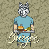 Vector Illustration of husky dog with burger and French fries