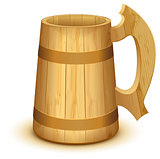 Empty wooden mug for beer