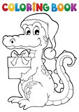 Coloring book Christmas crocodile