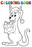 Coloring book Christmas kangaroo