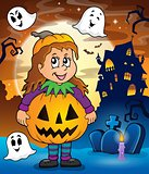 Girl in Halloween costume theme image 2
