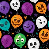 Halloween balloons seamless background 1