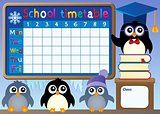 School timetable with penguins