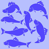 Fish Blue Silhouettes