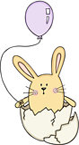 Funny egg rabbit with a balloon
