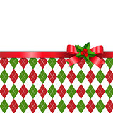 Christmas Tartan Background With Red Ribbon