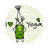 Funny yoga frog, sketch for your design
