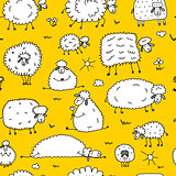 Flock of sheeps, seamless pattern for your design