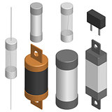 Set of different fuses in 3D, vector illustration.