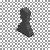 Black chess piece pawn isometric, vector illustration.