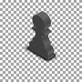 Black chess piece pawn isometric, vector illustration.