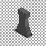 Black chess piece rook isometric, vector illustration.